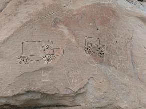 Les visuels retracés numériquement, qui représentent la visite des indiens en Ford T à Writing-on-Stone.